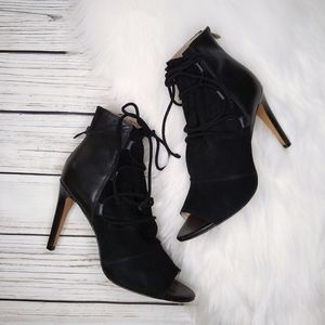 FRENCH CONNECTION BLACK PEEP TOE ANKLE BOOTIES 8